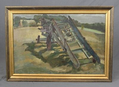 Vintage Farm Machinery Study Oil Painting • 145£