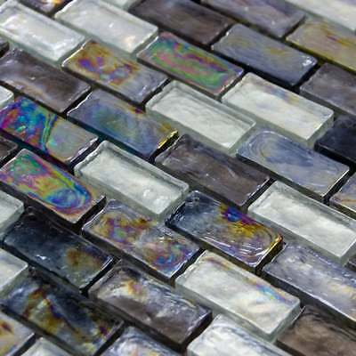 Luxury Textured Iridescent Slate, Grey & Pearl Glass Mosaic Wall Tiles Sheet 8mm • 7.95£