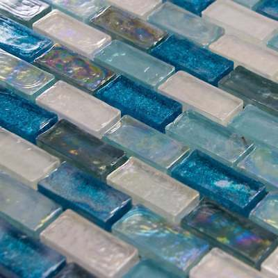 Luxury Textured Aqua, Blue & Pearl Iridescent Glass Mosaic Wall Tiles Sheet 8mm • 7.95£