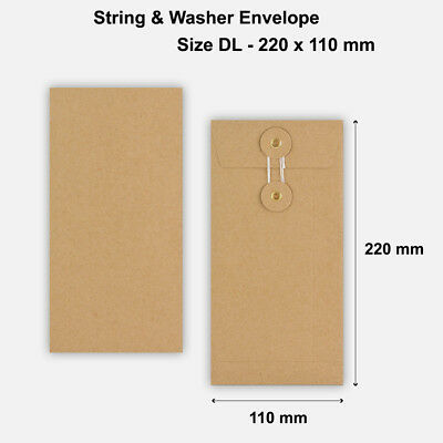 DL Size Quality String&Washer Without Gusset Envelope Button Tie Manilla • 10.49£