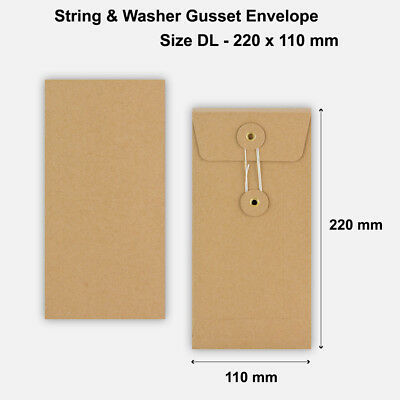 DL Size Quality String&Washer With Gusset Envelope Button Tie Manilla • 757.99£