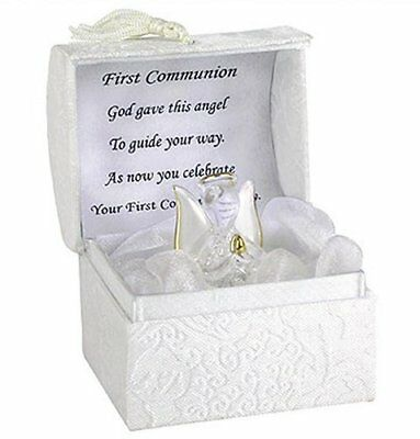 First Holy Communion Guardian Angel Gift Gilded Gold With Verse Hand Blown Glass • 9.97£