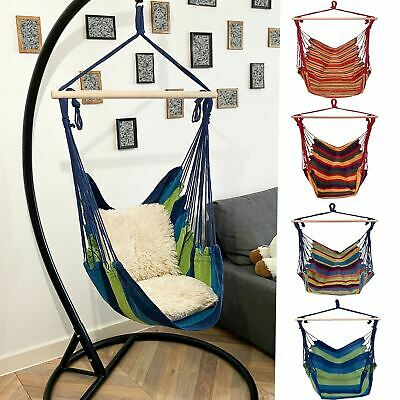 £13.99 • Buy Hanging Hammock Chair Portable Garden Swing Seat Tree Travel Camping Poly Cotton