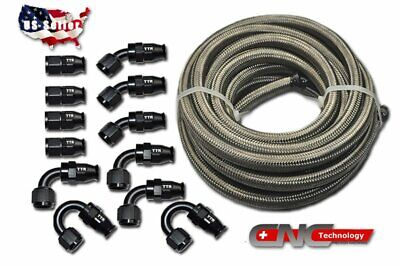 AU149.56 • Buy -8AN Stainless Steel Braided PTFE Hose 30FT Black Fitting Hose End Ethanol Kit