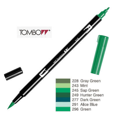 Tombow : Dual Brush Pen  ABT 228 To 296  Green Shade • 2.50£