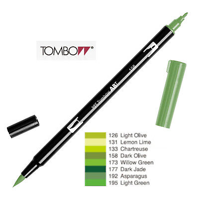 Tombow : Dual Brush Pen  ABT 126 To 195  Yellow Green Shade • 2.50£