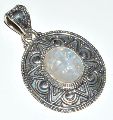 $23.99 • Buy Face Carved Rainbow Moonstone 925 Sterling Silver Pendant Jewelry JJ11122
