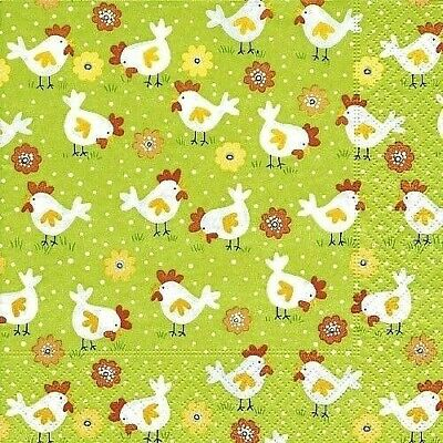 4 X Single Paper Table Napkin/3-Ply/Decoupage/Easter/Little Chickens • 1.25£