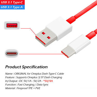 AU6.13 • Buy OEM Oneplus Charger USB Type C Fast Dash Charging Charge Cable For 3 5 3T 5T 6