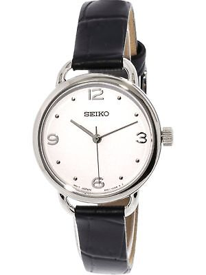 $ CDN144.50 • Buy Seiko Women's Quartz Watch White Dial Black Leather Strap SUR669 New In Box