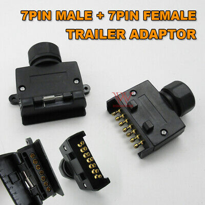 AU12.95 • Buy 7 Pin Flat Female Socket + Male Plug Adaptor Trailer Wiring Caravan Connector
