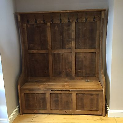 6 Ft Rustic Monks Bench/Settle/Pew With Coat Hooks & Storage  • 690£