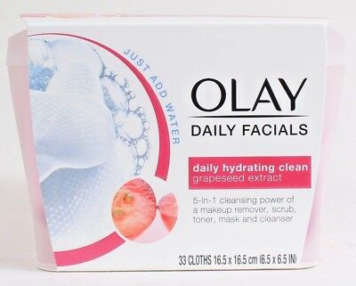 AU24.83 • Buy 1 Olay Daily Facials 5In1 Hydrating Clean Grapeseed Extract 33 Ct Cloths