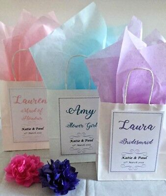 Personalised White Paper Favour Bags Gift Wedding,Hen,   Christening,Party 2019 • 0.99£