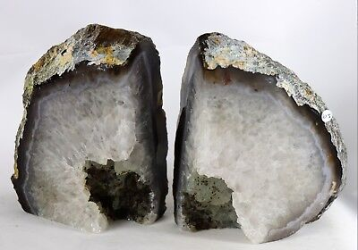 AB105) Brown Agate Quartz Crystal Bookends -House Office Gift  Home Decor 2.62KG • 45£