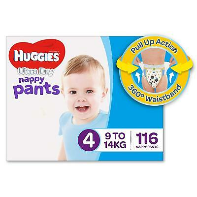 AU79.19 • Buy Huggies Ultra Dry Nappy Pants Boys Size 4 Toddler 9-14kg 116 Count