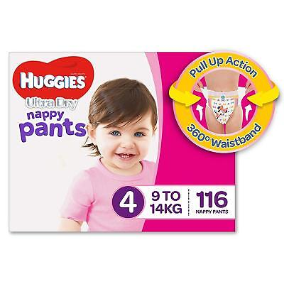 AU78.21 • Buy Huggies Ultra Dry Nappy Pants Girls Size 4 Toddler 9-14kg 116 Count