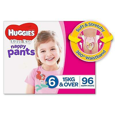 AU89.05 • Buy Huggies Ultra Dry Nappy Pants Girls Size 6 Junior 15kg+ 96 Count