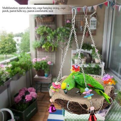 Parrot Rattan Nest Bird Swing Toy Hanging Play Climb Perch Stand Cage With Bells • 7.84£