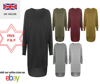 Womens Ladies Dipped Hem Batwing Sleeve Oversized Baggy Round Neck High Low Top • 6.49£