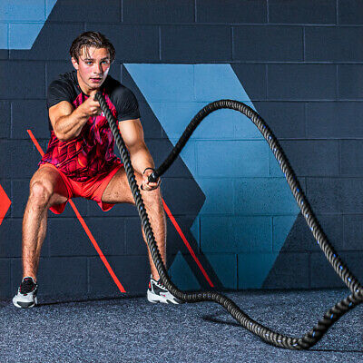 AU103.49 • Buy Training Battle Rope [9m] | PREMIUM GRADE Fitness Rope - CrossFit Power Strength