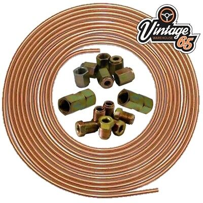 Brake Pipe Copper Line 3/16 25ft Joiner Male Female Nuts Ends Tubing Joint Kit • 15.95£