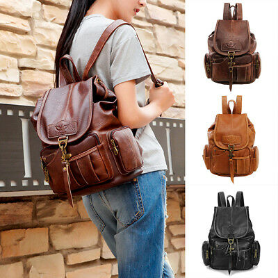 $24.95 • Buy Women Lady Girls Leather Vintage Backpack Shoulder School Travel Bag Rucksack