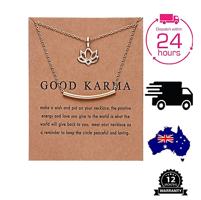 AU4.99 • Buy Elegant Gold Pendant Necklace Good Karma For Women Girlfriend Gift Jewellery