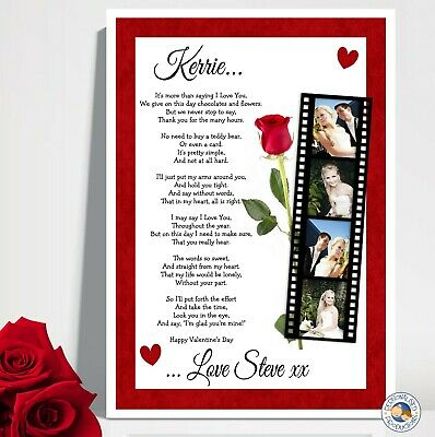 AU16 • Buy VALENTINE'S DAY GIFT POEM PRINT A4 Personalised Hubby Wife Boyfriend Valentines