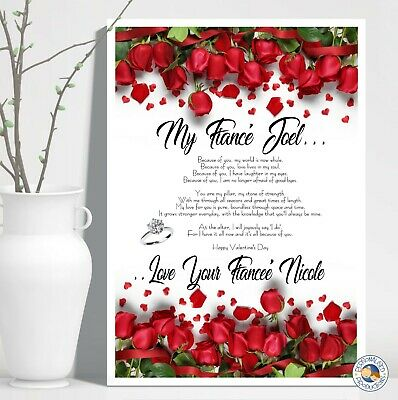 AU16 • Buy VALENTINE'S DAY GIFT POEM PRINT A4 Personalised Husband Wife Fiance Valentines