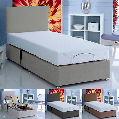 £744 • Buy Electric Adjustable Chenille Beds With Matching Headboard + Memory Foam Mattress