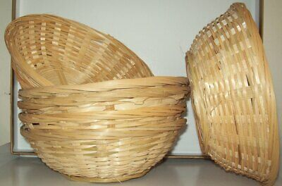 6 X Natural Small Woven Bamboo Round Wicker Basket Storage Bread Chip Snack Bowl • 8.49£