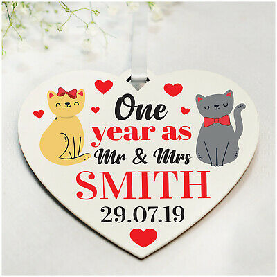 1st 10th Wedding Anniversary Gifts PERSONALISED For Husband Wife Cat Couple Gift • 4.99£