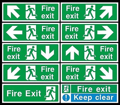 Fire Exit Sign Emergency, Escape, Fire Drill Keep Clear Self Adhesive Sticker UK • 0.99£