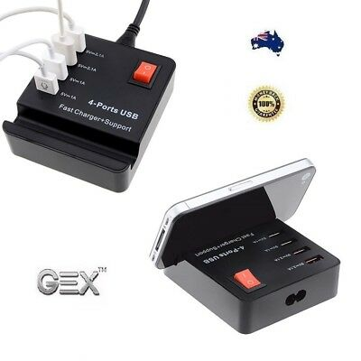AU40.19 • Buy Gex 4 Port USB HUB Fast High Speed Smart Charger AC Powered Adapter