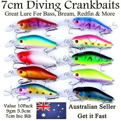 AU14.95 • Buy 10 Redfin & Bream Freshwater Fishing Lures, Flathead, Bass, Perch, Trout,Cod