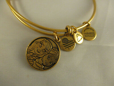 New Disney Parks Alex And Ani Elsa & Ana Charm Bangle Bracelet Gold • 25.17£