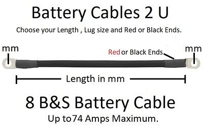 AU8.95 • Buy Ready Made 8 B&S Battery Cable Lead -100 To 2000 Mm- Order Length, Lug Size, + -