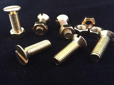 £2.52 • Buy Solid Brass Slotted Countersunk Head Machine Screws And Nuts M3 M4 M5 M6 M8