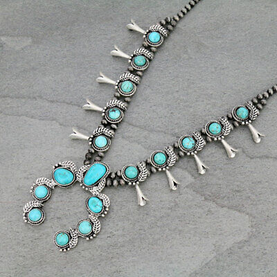 $ CDN91.33 • Buy *NWT* Natural Squash Blossom Turquoise Necklace 7310360089