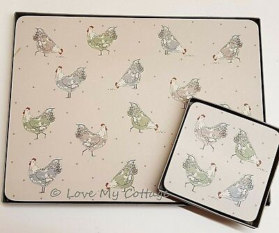 £4.95 • Buy Gisela Graham Hen Chicken Placemats OR Coasters Boxed Set 4 Cork Back Wipeable