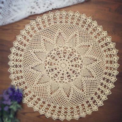 £7.19 • Buy Vintage Hand Crochet Doily Round Cotton Lace Table Cloth Cover Mats 60cm Pattern