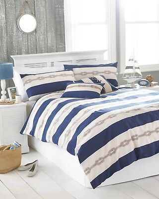 King Size Cream & Blue Reef Knot Nautical Duvet Cover Set, Riva Home Polycotton • 23.95£