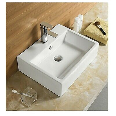 £69.99 • Buy Basin Sink Countertop Wall Hung Mounted Cloakroom Ceramic White Square 641