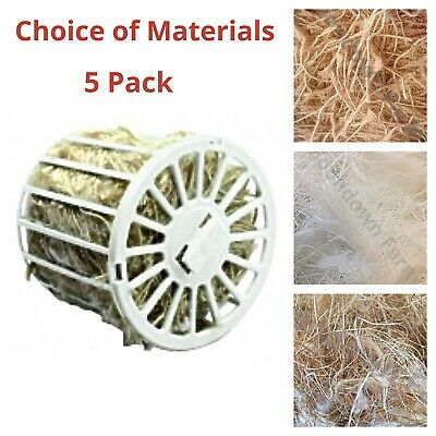 £8.45 • Buy 5 Pack Holders & Bird Nesting Material For Canary, Finch, Budgie Cage Birds