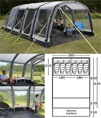 Kampa Hayling 6 AIR Pro 6 Berth Person Man Family Inflatable Tent CT3115 2020 • 785£