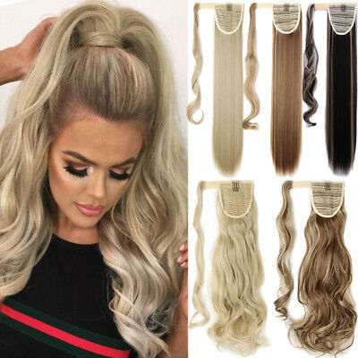UK Wrap Around Ponytail Real Thick Clip In Hair Extensions Easy Tape On Fake Hai • 8.93£