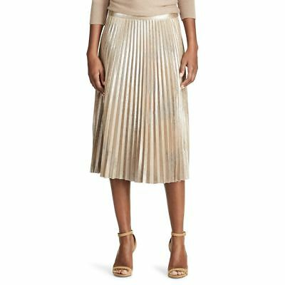 943198df6e NEW Chaps Denim Women Faux Leather Suede Pleated Midi Skirt Gold 8 10 M $79  NWT