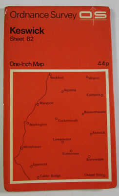 1971 Old Vintage OS Ordnance Survey Seventh Series One-inch Map 82 Keswick • 6.25£