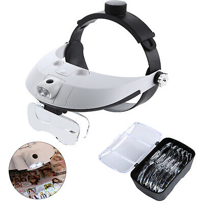 £11.99 • Buy Perfect Headband With 2 LED Light Jeweler Magnifier Magnifying Glass Loupe